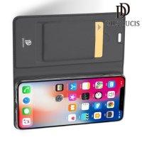 Dux Ducis чехол книжка для iPhone XR с магнитом и отделением для карты - Серый