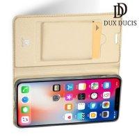 Dux Ducis чехол книжка для iPhone XS Max с магнитом и отделением для карты - Золотой
