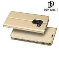 Dux Ducis чехол книжка для Samsung Galaxy A6 Plus 2018 с магнитом и отделением для карты - Золотой