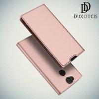 Dux Ducis чехол книжка для Sony Xperia XA2 Plus с магнитом и отделением для карты - Розовое Золото