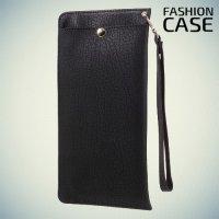 Элегантный чехол кошелек для телефона под кожу с карманом на молнии и отсеками для карточек - Черный