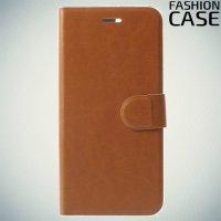 Fashion Case чехол книжка флип кейс для Huawei Honor 7X - Коричневый
