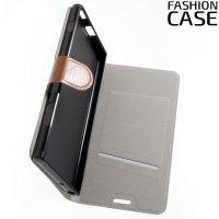 Fashion Case чехол книжка флип кейс для Sony Xperia XA1 Plus - Коричневый
