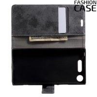 Fashion Case чехол книжка флип кейс для Sony Xperia XZ1 - Серый