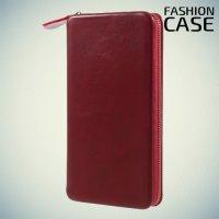 Fashion Case универсальный чехол футляр на молнии из искусственной кожи с магнитным креплением для телефона 5.5-6 дюймов - Бордовый