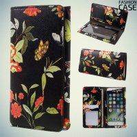 Fashion Case универсальный тонкий чехол кошелек с защитой экрана для телефона 5 дюймов - Черный