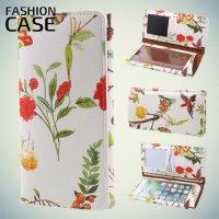 Fashion Case универсальный тонкий чехол кошелек с защитой экрана для телефона 5 дюймов - Белый