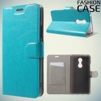 Fasion Case чехол книжка флип кейс для Lenovo K6 Note - Голубой