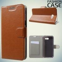 Fasion Case чехол книжка флип кейс для Samsung Galaxy J3 2017 SM-J327 - Коричневый