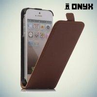 Флип чехол книжка для iPhone SE - Коричневый