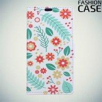 Флип чехол книжка для Samsung Galaxy J4 Plus с рисунком цветы