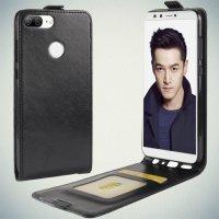 Флип чехол книжка вертикальная для Huawei Honor 9 Lite - Черный