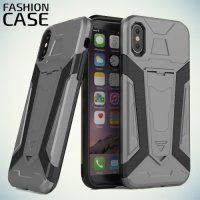 Гибридный с подставкой чехол для iPhone Xs / X - Серый