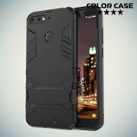 Hybrid Armor Ударопрочный чехол для Huawei Honor 7A Pro / 7C / Y6 Prime 2018 с подставкой - Черный