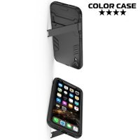 Hybrid Armor Ударопрочный чехол для iPhone XR с подставкой - Черный