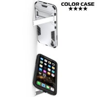 Hybrid Armor Ударопрочный чехол для iPhone XR с подставкой - Белый