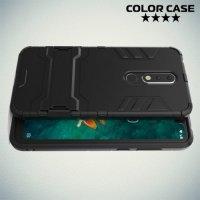 Hybrid Armor Ударопрочный чехол для Nokia 5.1 Plus с подставкой - Черный