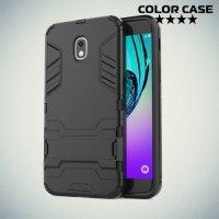 Hybrid Armor Ударопрочный чехол для Samsung Galaxy J3 2018 SM-J337A с подставкой - Черный