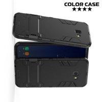 Hybrid Armor Ударопрочный чехол для Samsung Galaxy J4 Plus с подставкой - Черный