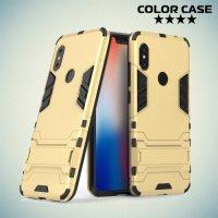 Hybrid Armor Ударопрочный чехол для Xiaomi Redmi Note 6 / Note 6 Pro с подставкой - Золотой