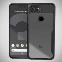 Hybrid прозрачный двухкомпонентный пластиковый чехол для Google Pixel 3a XL - черная силиконовая рамка