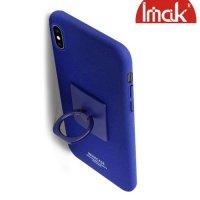 IMAK Cowboy Пластиковый чехол с кольцом подставкой и защитной пленкой для iPhone XS Max - Синий