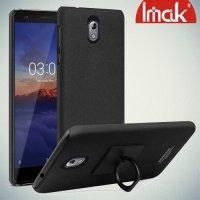 IMAK Cowboy Пластиковый чехол с кольцом подставкой и защитной пленкой для Nokia 3.1 2018 - Песочно-Черный
