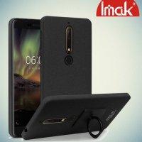 IMAK Cowboy Пластиковый чехол с кольцом подставкой и защитной пленкой для Nokia 6.1 2018 - Песочно-Черный