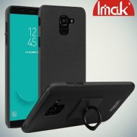 IMAK Cowboy Пластиковый чехол с кольцом подставкой и защитной пленкой для Samsung Galaxy J6 2018 SM-J600F - Песочно-Черный