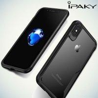 IPAKY Hybrid Прозрачный чехол с силиконовым бампером для iPhone Xs / X - Черный