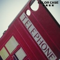 Кейс накладка для Sony Xperia Z3+ с орнаментом Телефонная будка
