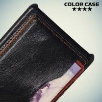 Кожаный кейс накладка с подставкой на Sony Xperia Z5 Compact - Черный