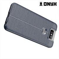 Leather Litchi силиконовый чехол накладка для Asus Zenfone 6 ZS630KL - Синий