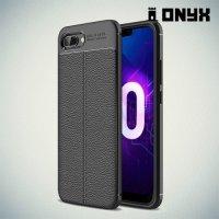 Leather Litchi силиконовый чехол накладка для Huawei Honor 10 - Черный