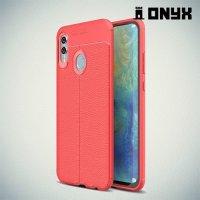 Leather Litchi силиконовый чехол накладка для Huawei Honor 10 Lite - Коралловый