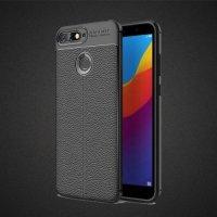 Leather Litchi силиконовый чехол накладка для Huawei Honor 7A Pro / 7С - Черный