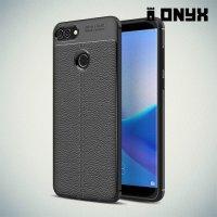 Leather Litchi силиконовый чехол накладка для Huawei Y9 2018 - Черный