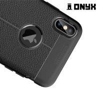Leather Litchi силиконовый чехол накладка для iPhone XS Max - Черный