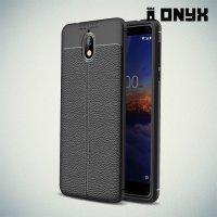 Leather Litchi силиконовый чехол накладка для Nokia 3.1 2018 - Черный
