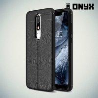Leather Litchi силиконовый чехол накладка для Nokia 5.1 Plus - Черный