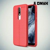 Leather Litchi силиконовый чехол накладка для Nokia 5.1 Plus - Коралловый