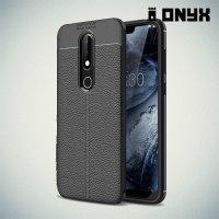 Leather Litchi силиконовый чехол накладка для Nokia 6.1 Plus / X6 2018 - Черный