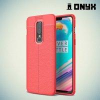 Leather Litchi силиконовый чехол накладка для OnePlus 6 - Коралловый
