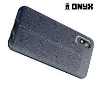 Leather Litchi силиконовый чехол накладка для Samsung Galaxy A10e - Синий