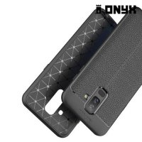 Leather Litchi силиконовый чехол накладка для Samsung Galaxy A6 Plus 2018 - Черный