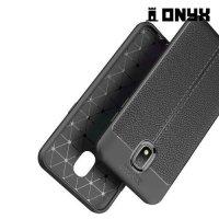 Leather Litchi силиконовый чехол накладка для Samsung Galaxy J3 2018 SM-J337A - Черный