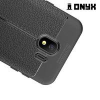 Leather Litchi силиконовый чехол накладка для Samsung Galaxy J4 2018 SM-J400F - Черный