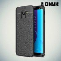 Leather Litchi силиконовый чехол накладка для Samsung Galaxy J6 2018 SM-J600F - Черный