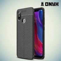 Leather Litchi силиконовый чехол накладка для Xiaomi Mi 8 - Черный