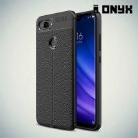 Leather Litchi силиконовый чехол накладка для Xiaomi Mi 8 Lite - Черный